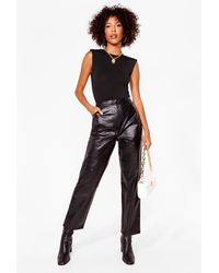 Nasty Gal We've Got To Faux Leather Croc Trousers - Black