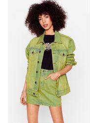 Nasty Gal Acid Wash Oversized Denim Jacket - Green