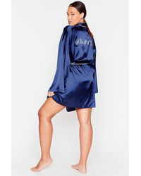 Nasty Gal It Was All A Dream Plus Satin Belted Robe - Blue
