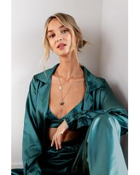 Nasty Gal Satin 3 Pc Oversized Pyjama Shirt And Trousers Set - Green