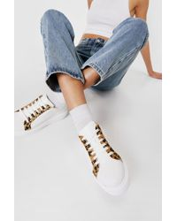 Nasty Gal Leopard Round Toe Chunky Trainers - White