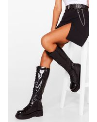 Nasty Gal Stomping Ground Patent Faux Leather Knee High Boots - Black