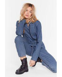 """Nasty Gal """"seams Good To Me Belted Denim Boilersuit"""" - Blue"""