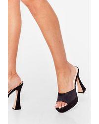 Nasty Gal The Way You Make Me Heel Satin Platform Mules - Black