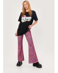 Nasty Gal Petite marble print high waisted flares - Rose