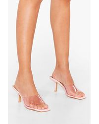 Nasty Gal Did We Make That Clear Stiletto Square Toe Mules - Pink