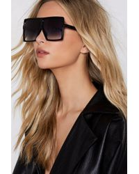 Nasty Gal I Know Square It's At Oversized Sunglasses - Black
