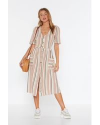 "Nasty Gal ""stay In Line Striped Midi Dress"" - Multicolour"