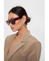 Nasty Gal Tonal Oversized Cat Eye Sunglasses - Brown