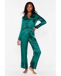 Nasty Gal It's Been A Jacquard Day Satin Pyjama Pants Set - Green