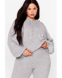 Nasty Gal Get Knit Done Plus Ribbed Hoodie - Grey