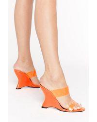 "Nasty Gal ""under Neon Lights Perspex Wedge Heels"" - Orange"