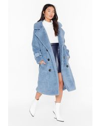 Nasty Gal Are You Teddy Fur It Faux Shearling Longline Coat - Blue