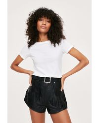 Nasty Gal Fringed Leather High Waisted Relaxed Shorts - Black