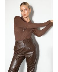 Nasty Gal Ribbed Knit Fitted Collar Bodysuit - Brown