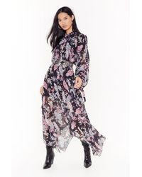 "Nasty Gal ""paisley In Tequila Asymmetric Maxi Dress"" - Black"