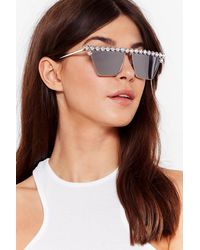 Nasty Gal What Shine Is It Diamante Tinted Sunglasses - Metallic