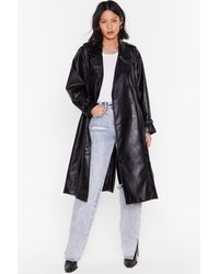 """Nasty Gal """"you Faux Leather Know Belted Trench Coat"""" - Black"""