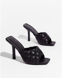 Nasty Gal Faux Leather Padded Square Toe Mules - Black