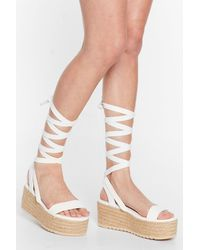 Nasty Gal One Step Ahead Lace-up Platform Sandals - White
