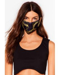 Nasty Gal Say It To My Face Chain Fashion Face Mask - Noir