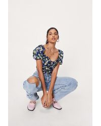 Nasty Gal - Floral Sweetheart Neck Puff Sleeve Crop Top - Lyst
