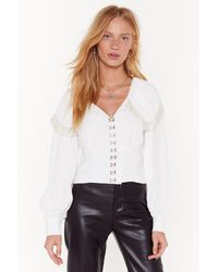 "Nasty Gal ""it's A Pearl's World Hook And Eye Blouse"" - White"
