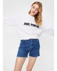 Nasty Gal Be Nice Slouchy Graphic Sweatshirt - White