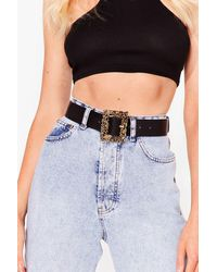 Nasty Gal Be Right Square Faux Leather Ornate Belt - Black