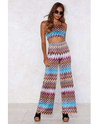 Nasty Gal Heading In Our Direction Chevron Crop Top And Pants Set - Blue