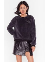 "Nasty Gal ""kindly Fuck Off Faux Shearling Embroidered Sweatshirt"" - Gray"