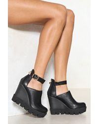 Nasty Gal Gimme More Faux Leather Wedge - Black