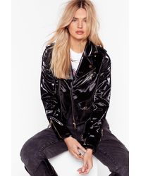 "Nasty Gal ""look At You Shine Patent Faux Leather Jacket"" - Black"