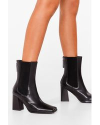 Nasty Gal Get It Toe-gether Faux Leather Heeled Boots - Black