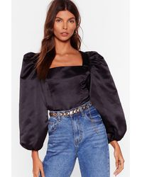 "Nasty Gal ""sleek The Language Satin Balloon Sleeve Blouse"" - Black"