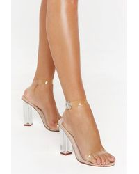 Nasty Gal Clear Open Toe Block Heels - Natural