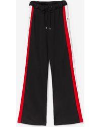 Nasty Gal Popper Side Stripe Wide Leg jogger - Red