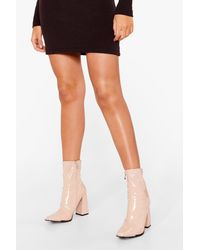 Nasty Gal Pointed Patent Faux Leather Sock Boots - Natural