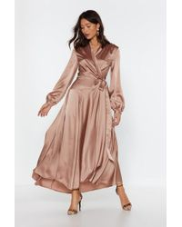 "Nasty Gal ""make Your Entrance Satin Dress"" - Pink"