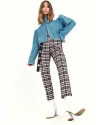 "Nasty Gal ""tapered Love Check Pants"" - Black"