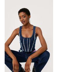 Nasty Gal Top en denim style corset à col carré et détails effilochés - Bleu