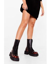 Nasty Gal Play The Flame Game Lace-up Biker Boots - Black