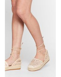 Nasty Gal Crochet Ankle Tie Espadrille Sandals - Natural
