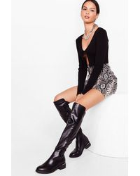 Nasty Gal Walk On Over-the-knee Wide Fit Boots - Black