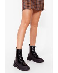 Nasty Gal - Patent Lace Up Heeled Boots - Lyst