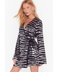 Nasty Gal If Zebra You're In Doubt Sequin Wrap Dress - Black