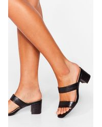 Nasty Gal Give It A Faux Leather Strappy Mules - Black