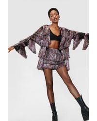 Nasty Gal Multicolored High Waisted Fringe Shorts