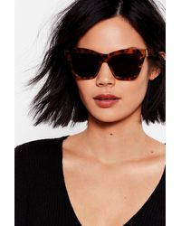 Nasty Gal Erm Tort Of Square Sunglasses - Brown