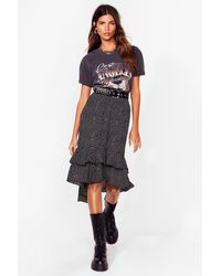Nasty Gal Polka Dot Ruffle Hem Midi Skirt - Black